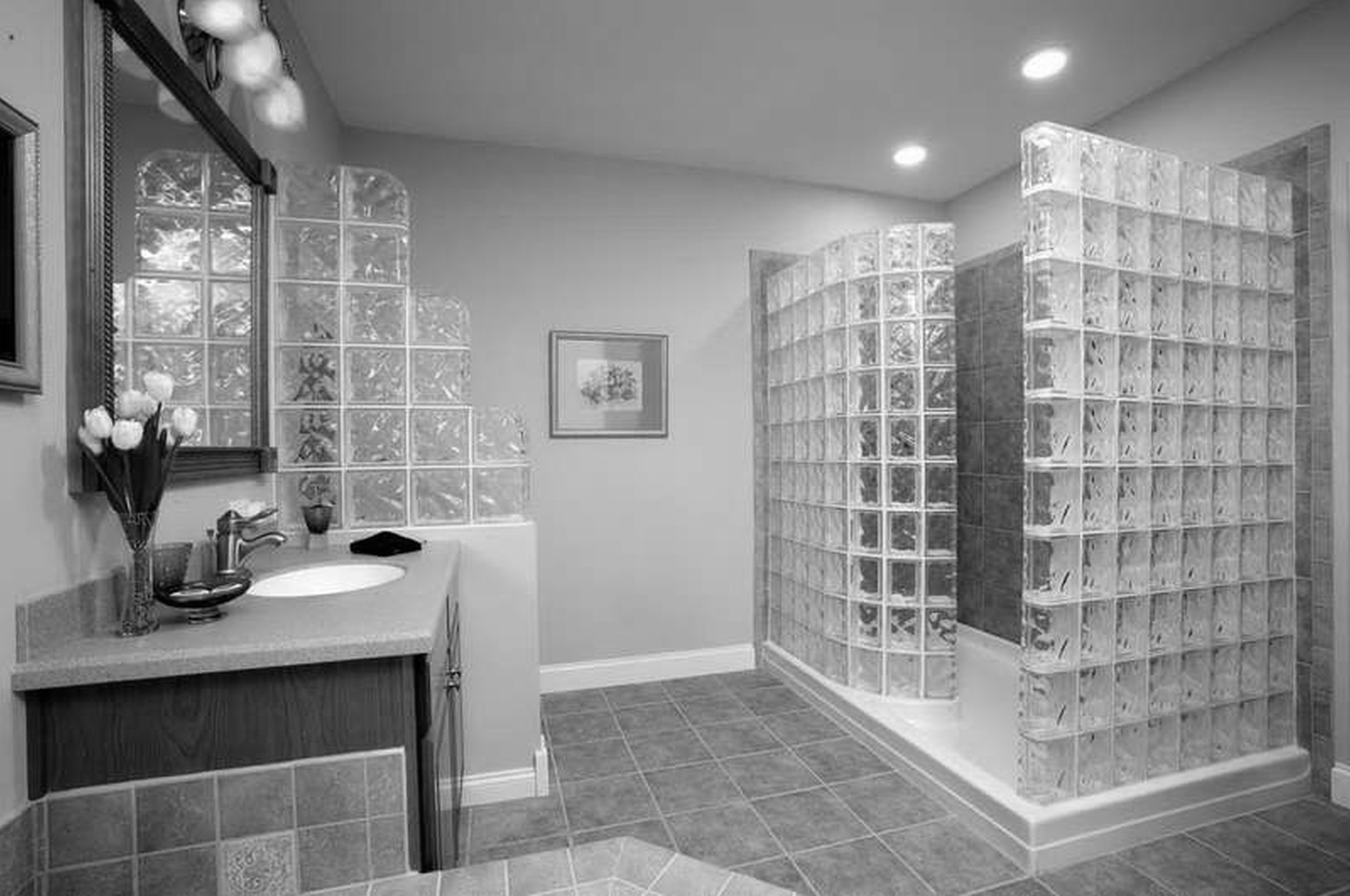 Monochrome Bathroom Design Ideas Cube Glass Tile Shower Wall Grey Ceramic Tiles Flooring Bathroom Vanity With 3 Sconces