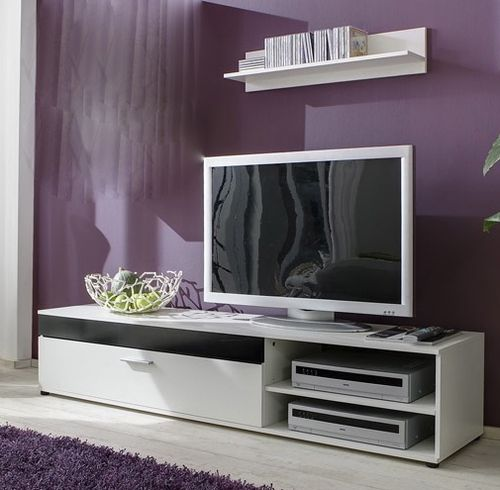 tv board new york lowboard tv schrank medienschrank wei schwarz inkl wandboard ebay luxury. Black Bedroom Furniture Sets. Home Design Ideas