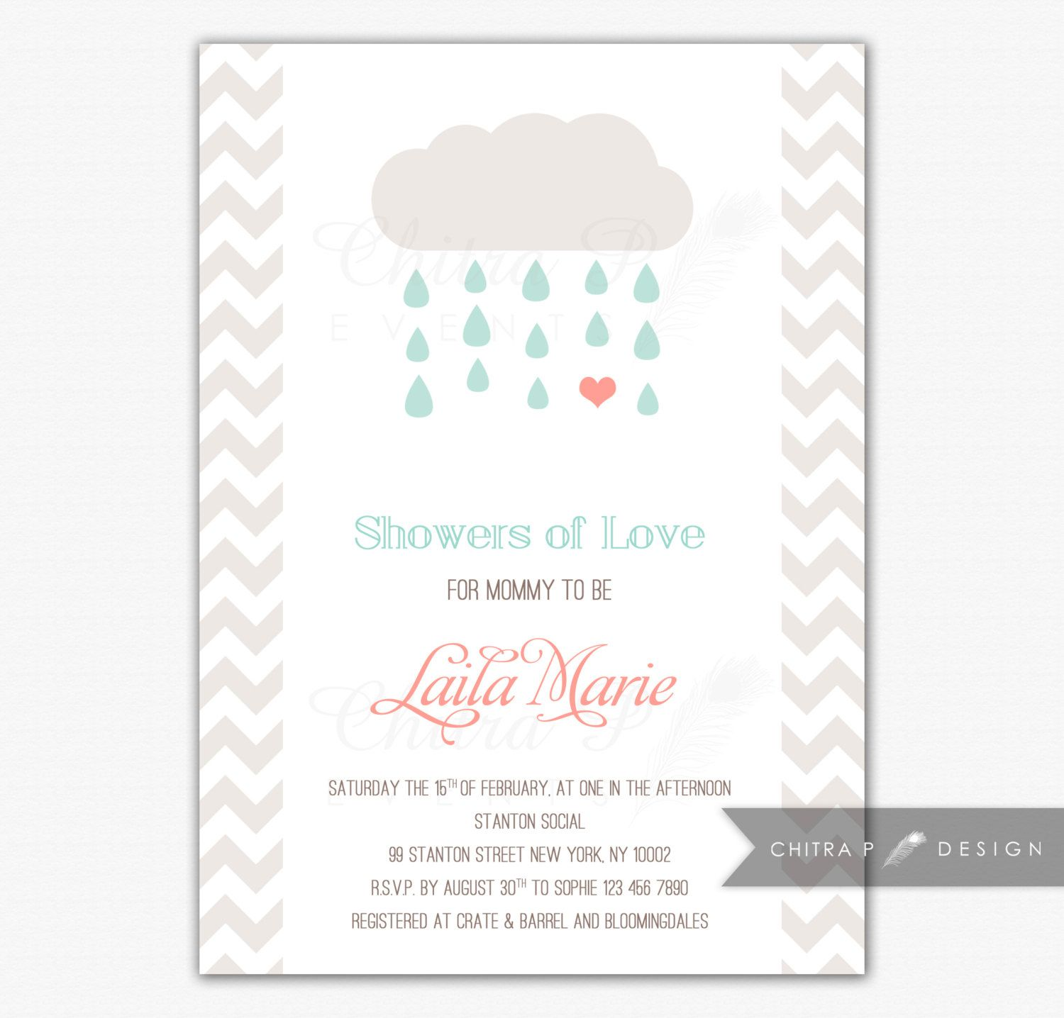 Coral & Mint Baby Shower Invitation Printed Showers of Love
