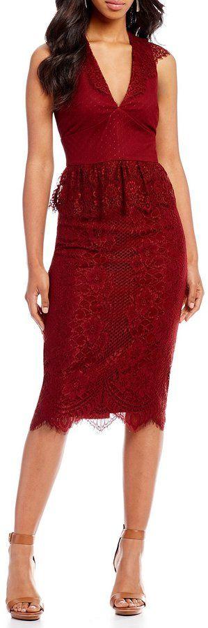 c2c49c5b8c5 Gianni Bini Melissa Lace Ruffle Midi Dress