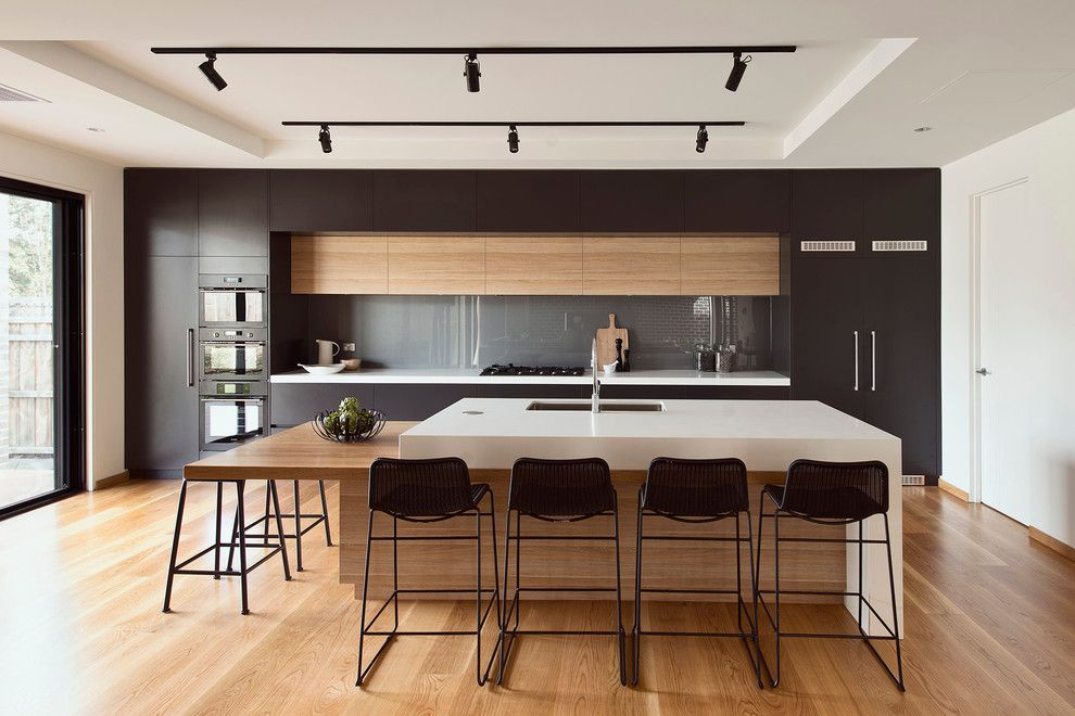 Modern White Kitchen Designs With Timber Benchtop Stone