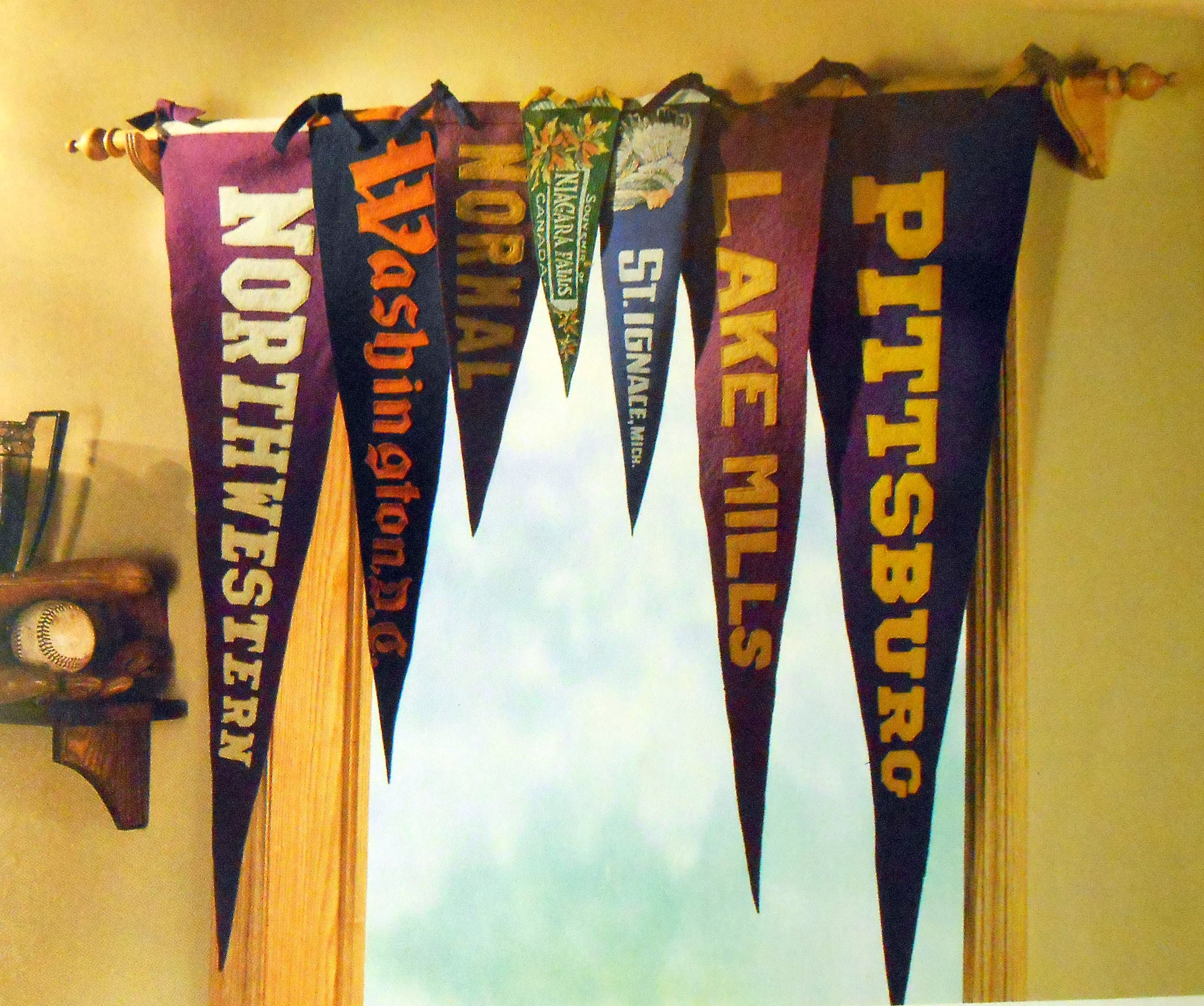 College pennants displayed   Sports room boys, Sports ...