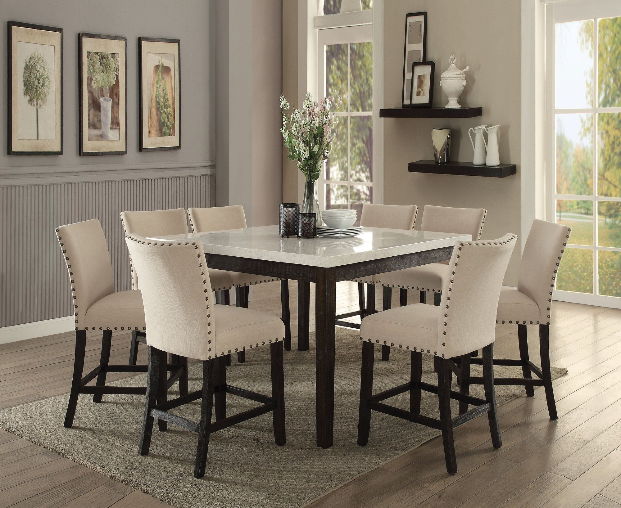 Acme 72855 Nolan White Faux Marble Top 9 Piece Counter Height Dining Set Whiterounddiningtable Counter Height Dining Sets Dining Room Sets Dining Table Marble
