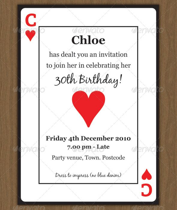 Playing Card Invitation | Invitation Templates, Themed Parties And