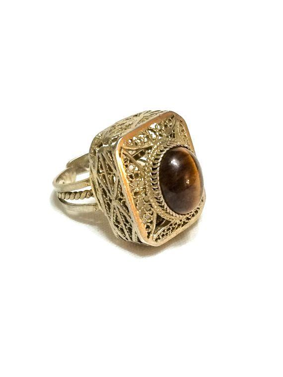 Sterling Filigree Tigers Eye Ring Gold by GracesVintageGarden