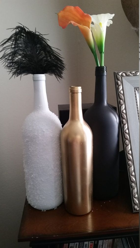 Set of 3 Wine Bottle Centerpieces Gold