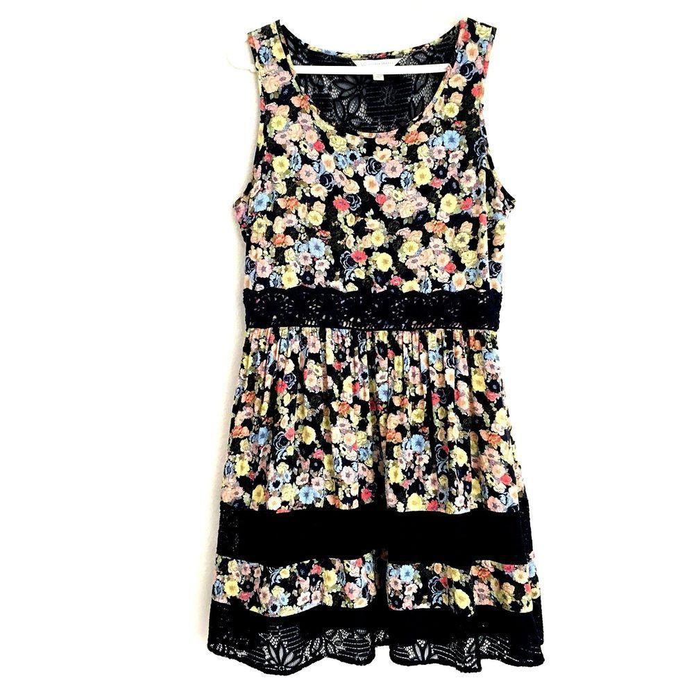 LC Lauren Conrad Womens 14 Dress Sleeveless Floral Blue Lace Lined Sundress  #LCLaurenConrad #FitFlareDress