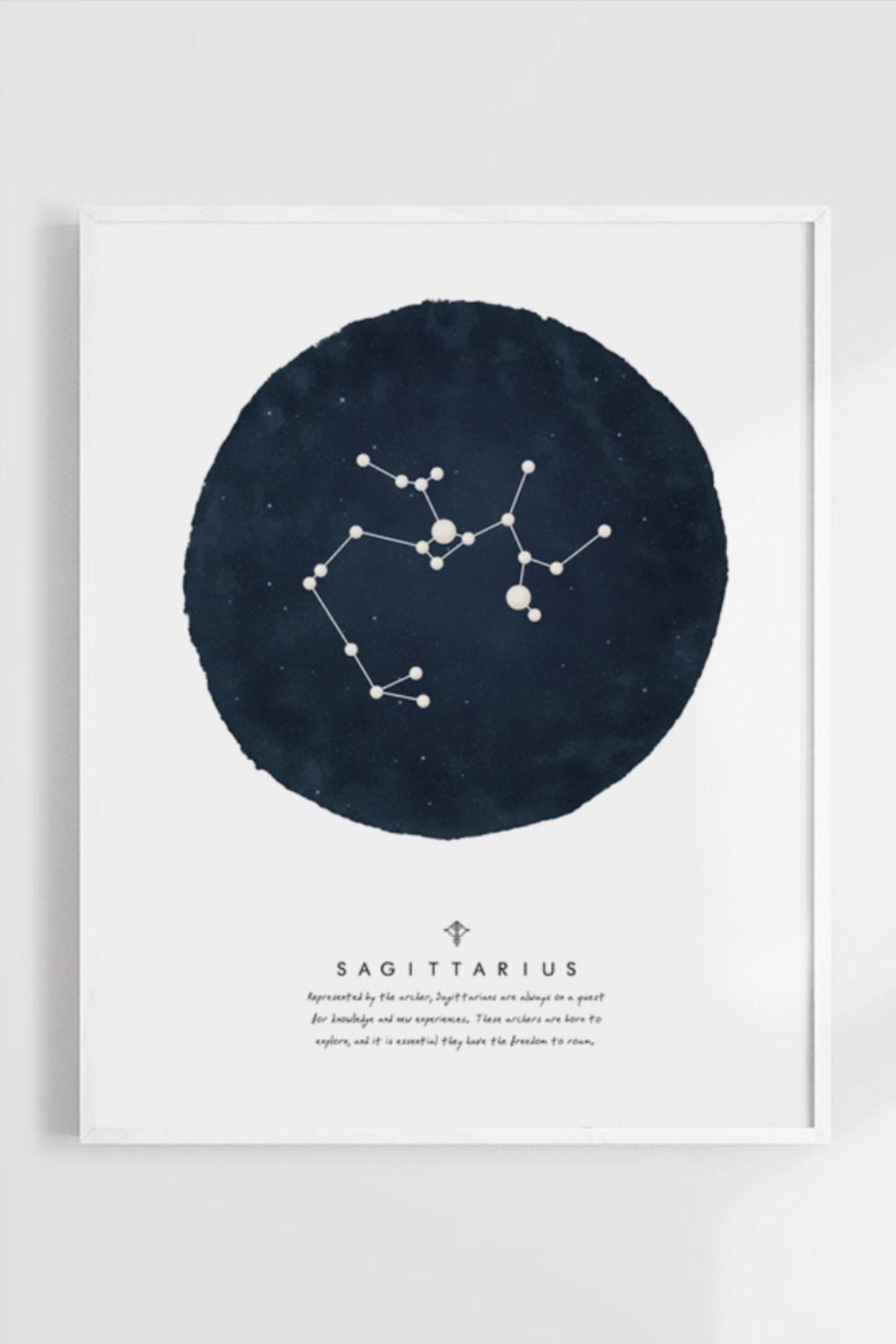 Stars Decor Child Room Decor Sagittarius Zodiac Sign Watercolor Art Print Printable Wall Art Space Poster