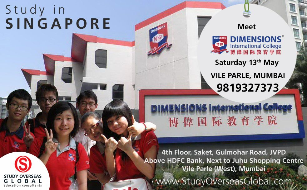 Get A Chance To Meet Representatives From Dimensions International College Singapore At Study Overseas Global Office Mumbai On University Singapore Overseas