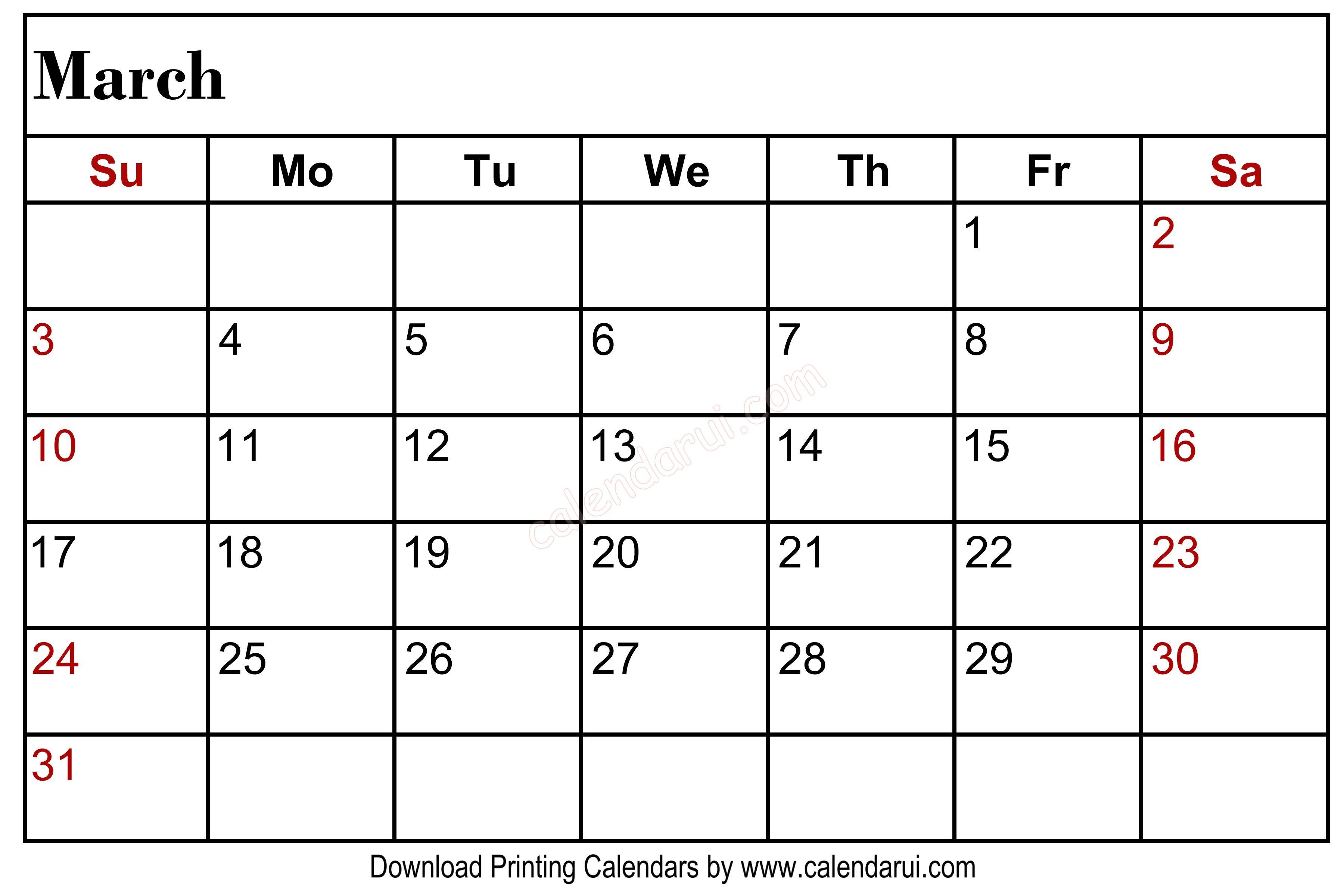 March Blank Calendar Printable Left Header