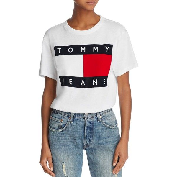 8cc1c4fc Tommy Jeans '90s Logo Tee ($53) ❤ liked on Polyvore featuring tops, t-shirts,  classic white, tommy hilfiger, white t shirt, white top, tommy hilfiger t  ...