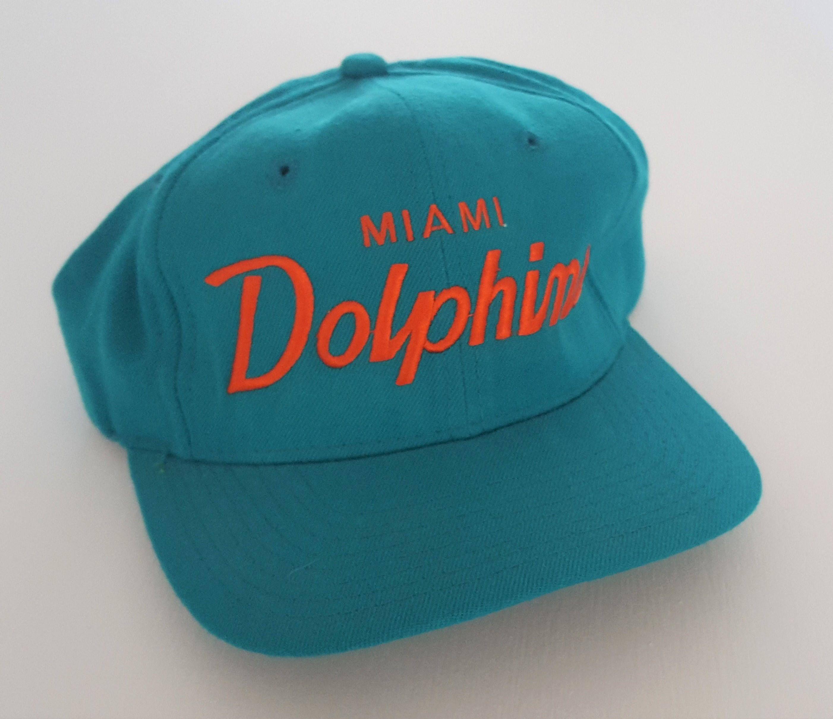 28ea3372065a5 Vintage Miami Dolphins Sports Specialties 100% Wool Script Snapback Hat NFL  VTG