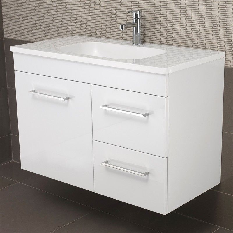 Marbletrend Capstone 900mm White Daintree Top 1 Tap Hole