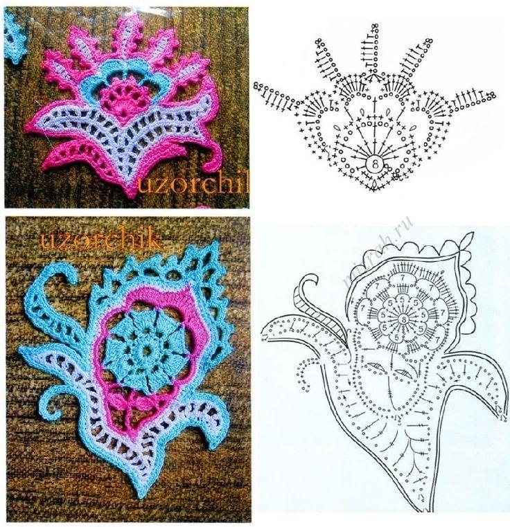 Crochet paisley\'s with diagram   irish lace/freeform/patchwork ...