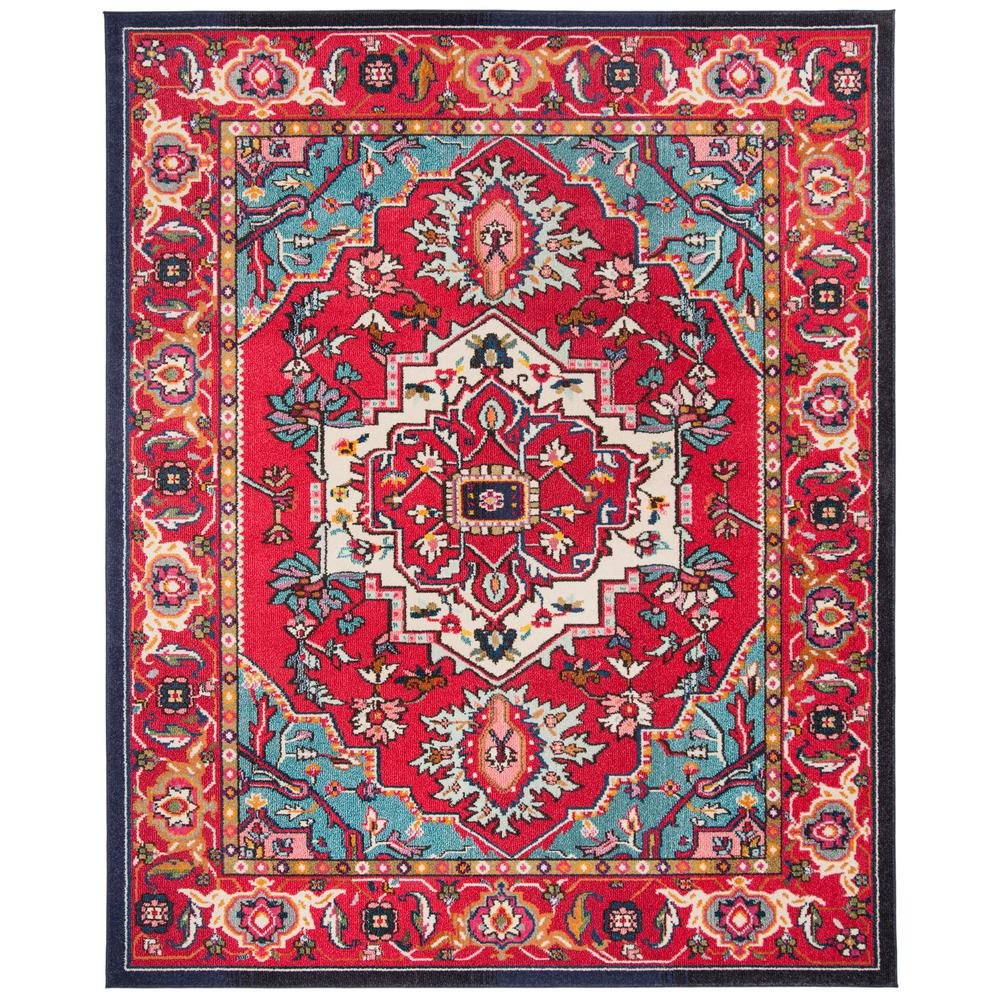 Safavieh Monaco Red Turquoise 9 Ft X 12 Ft Area Rug Mnc207c 9 The Home Depot Red Rugs Turquoise Rug Area Rugs Red and turquoise area rugs