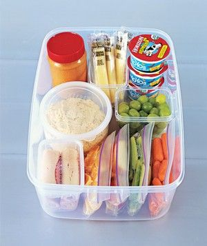"""Grab-and-Go Snack Stashes Set up these self-serve stations so kids never again have to plead, """"Mom...?"""" when a snack attack hits."""