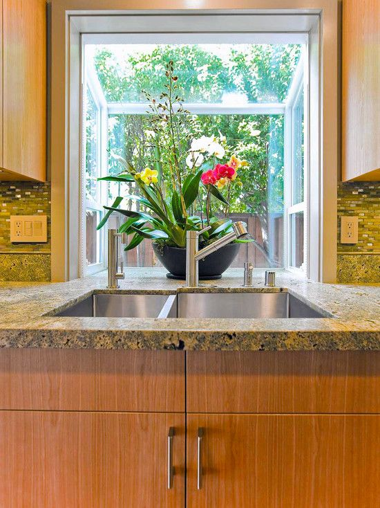 Merveilleux Interesting Kitchen Window Herb Garden: Tropical Kitchen With Garden Window  Over Sink With Counter Extension Into Kitchen Bay Window Counter Top And  Wood ...