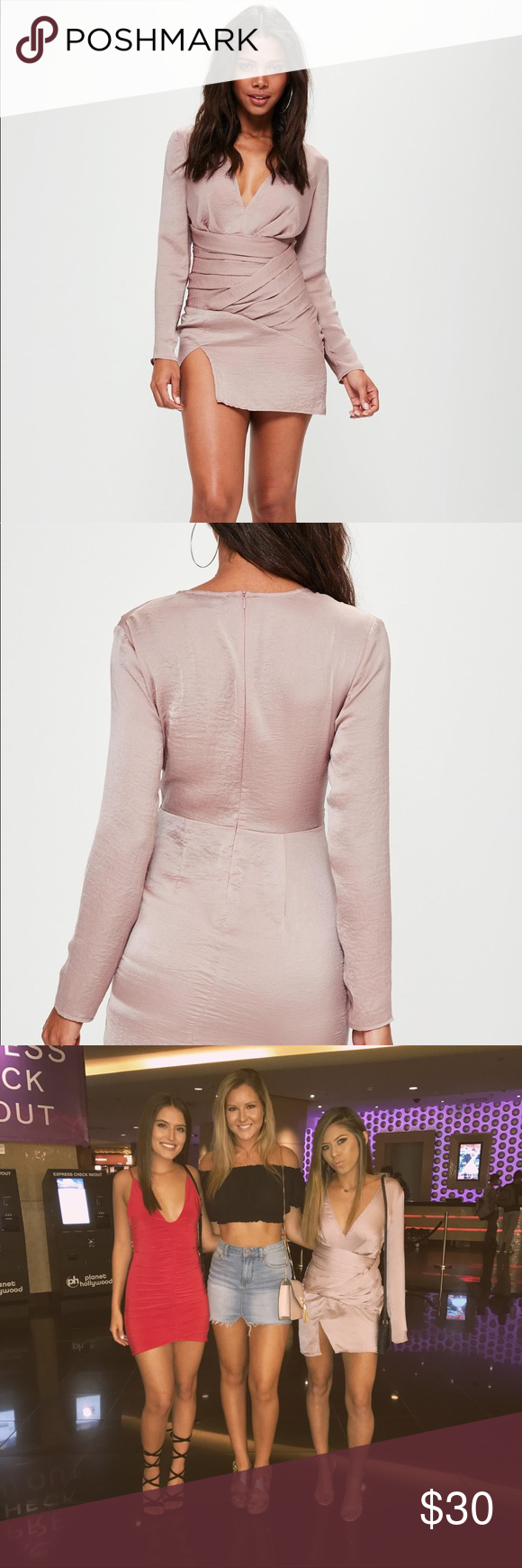 c27a101d917 Pink silky long sleeve panelled shift dress I wore this dress to Vegas and  got so many compliments every where I went! I only wore once!