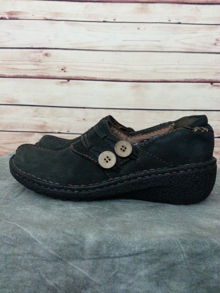 Clarks Artisan leather slip on loafer shoes size 7 M style 82708 black low  heel