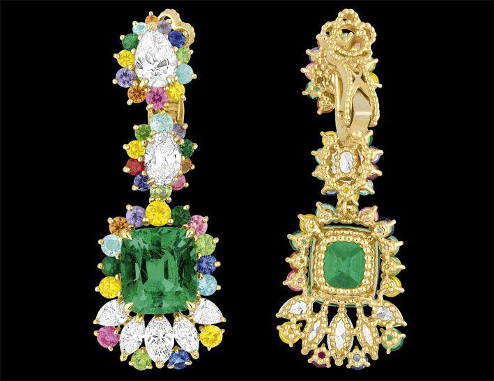 acquista online online in vendita di alta qualità Orecchini oro giallo 750/1000, diamanti, smeraldi, zaffiri rosa ...