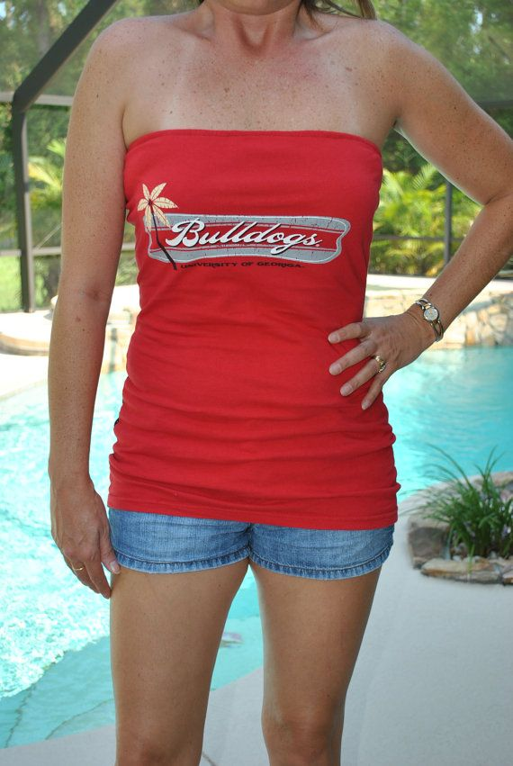 9a7c540037 university of Georgia UGA Bulldogs red flower strapless tube top UPcycled  Cotton T Shirt M