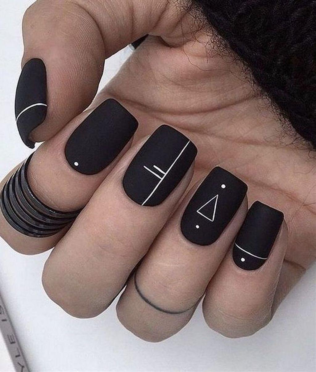42 Unique Black Nail Art Designs Ideas That You Must Try Square Acrylic Nails Matte Nails Design Solid Color Nails