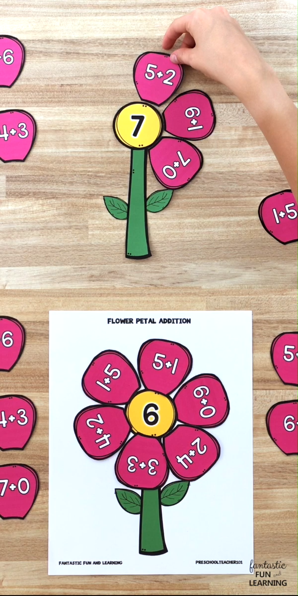 Free printable Flower Petal Addition Activity. Practice math facts in kindergarten and first grade with this hands-on spring math activity for kids. #kindergarten #firstgrade #math #freeprintable