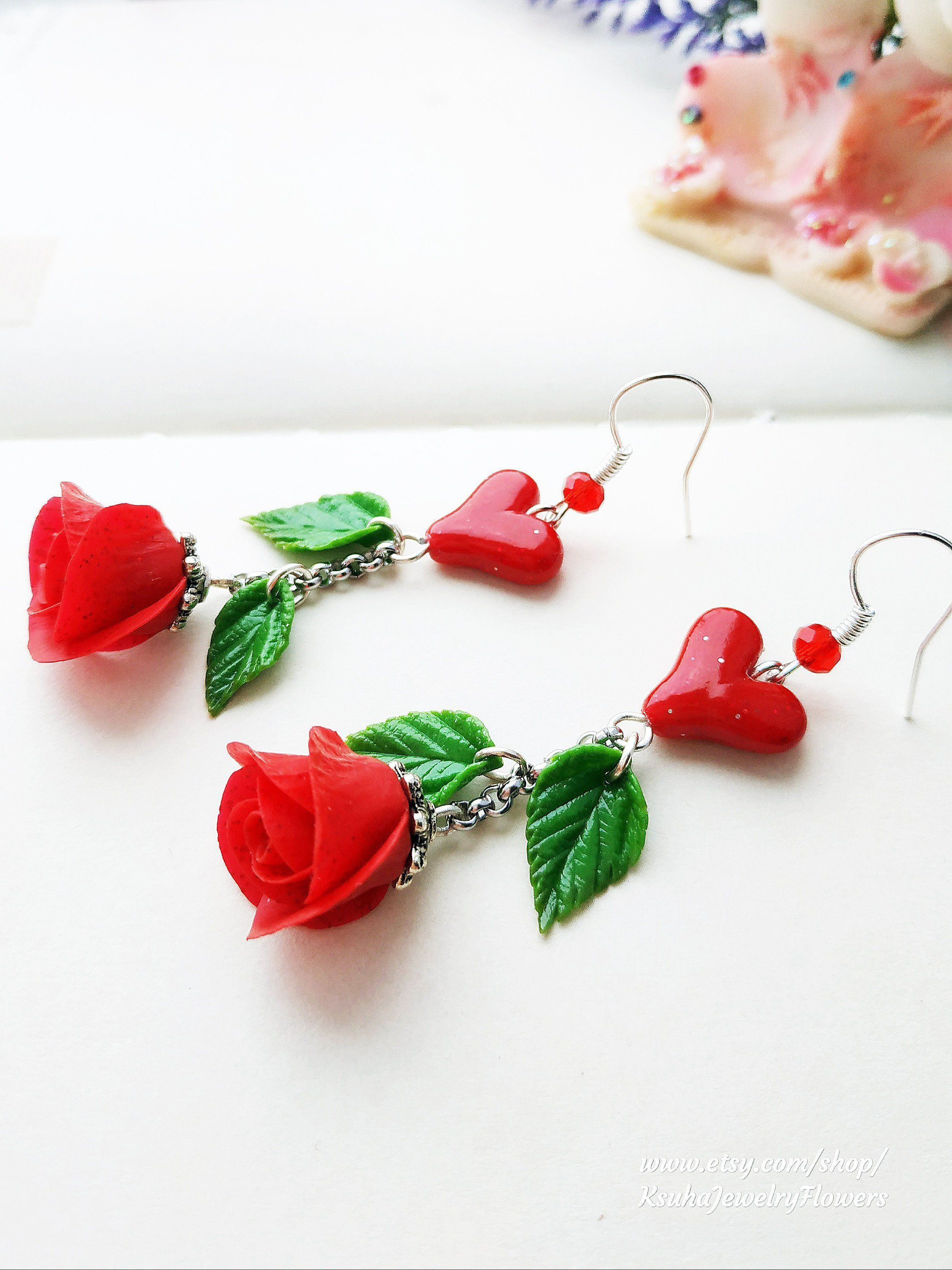 Valentine's day gift Earrings Red Rose polymer clay ...