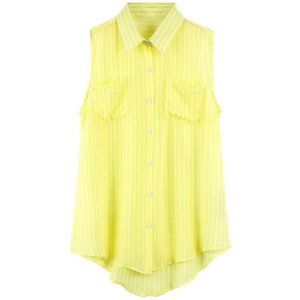 Yoins Yoins Yellow Stripe Sleeveless Blouse (€15) ❤ liked on Polyvore featuring tops, blouses, shirts, camisoles & tank tops, yellow, striped cami, cami top, stripe blouse, stripe top en striped top
