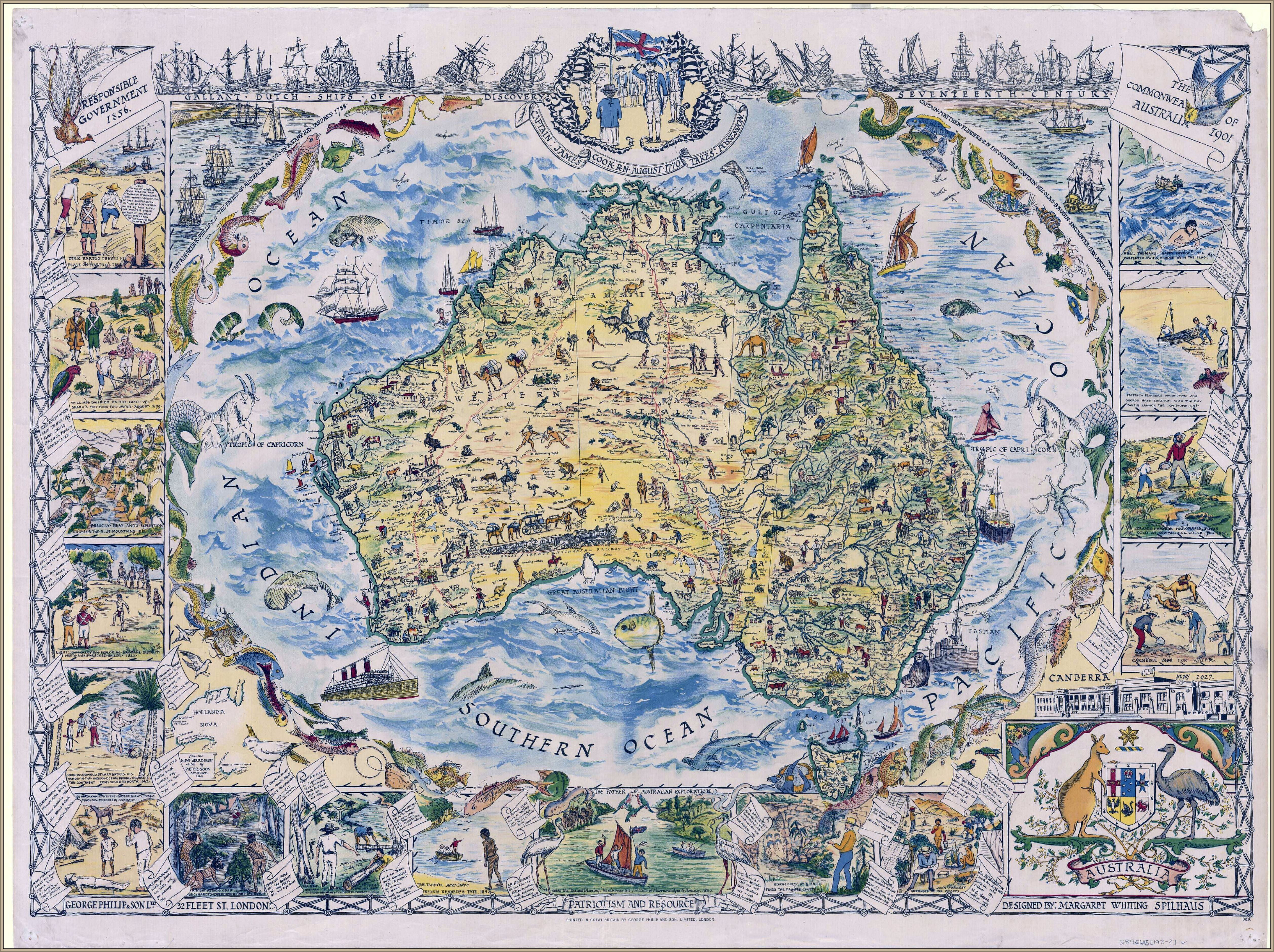 Map Of Australia 1830.1930s Pictorial Map Of Australia Designed By Margaret Whiting