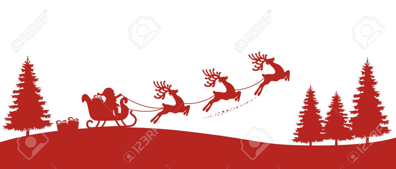 Santa Sleigh Reindeer Red Silhouette Royalty Free Cliparts, Vectors, And Stock Illustration. Image 46019891.