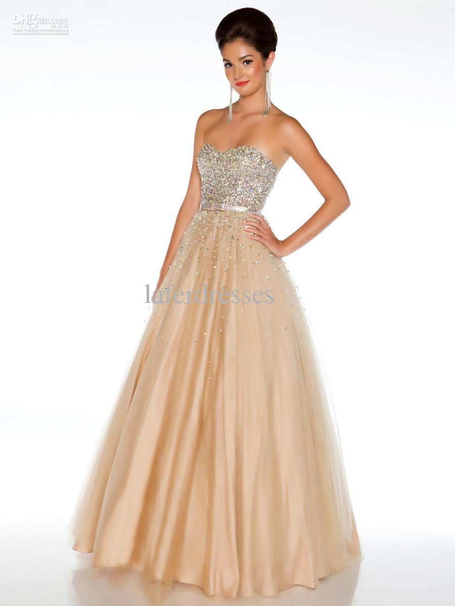 Glamorous designer golden gold tulle a line prom dresses gown