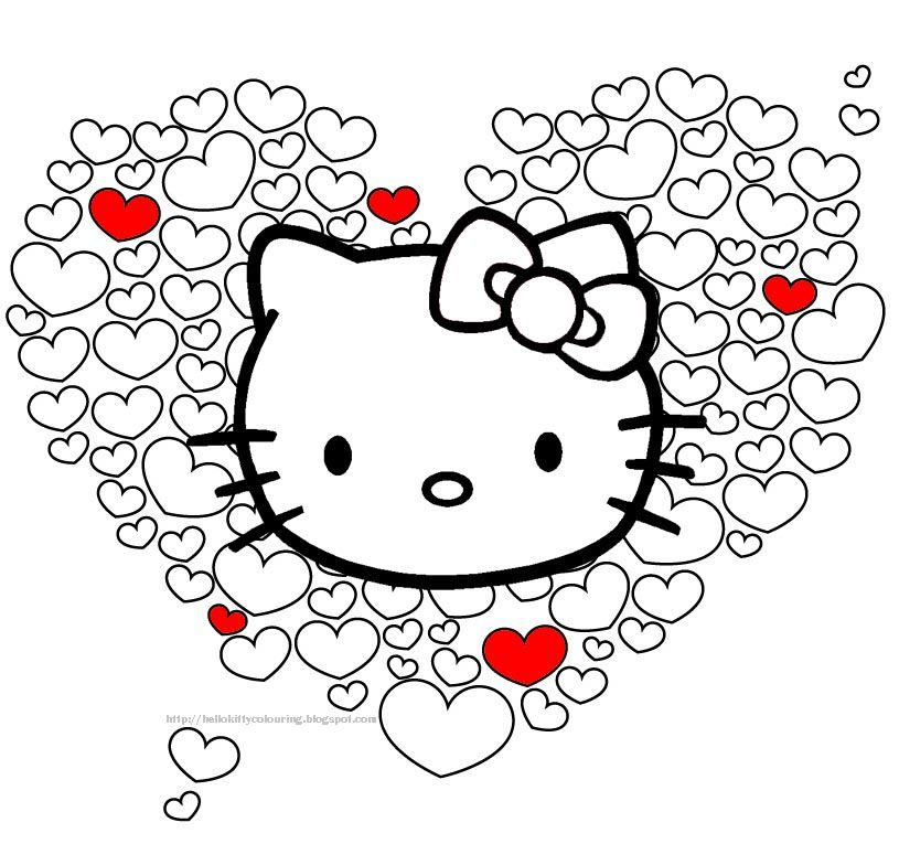 hello kitty coloring pages invites - Kitty Printable Color Pages