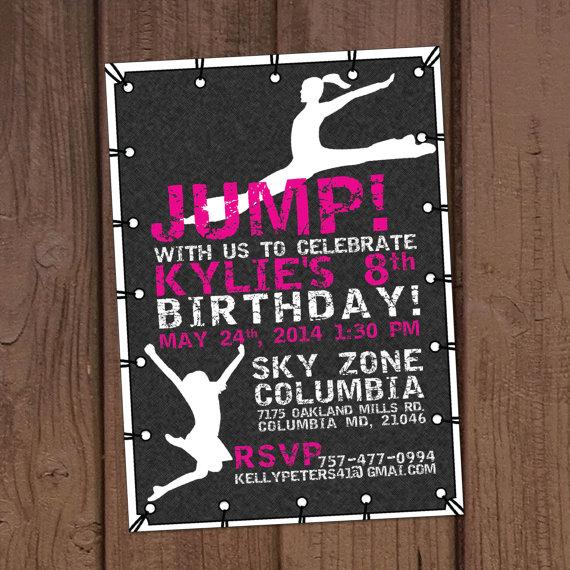 Girl Jump Trampoline Gymnastics Party by Aurora Graphic Studios