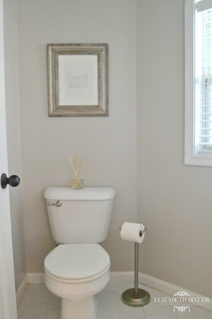 Behr Cotton Grey Powder Room Makeover Paint Colors For