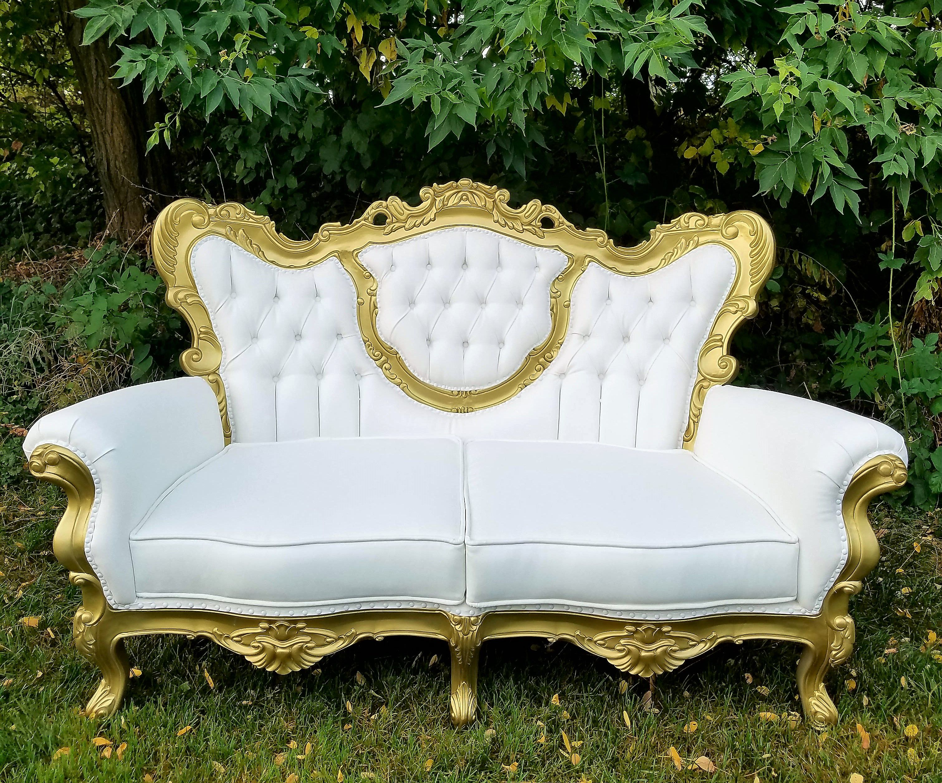 New to our furniture collection is our victorian style couch perfect for your fairy tale wedding