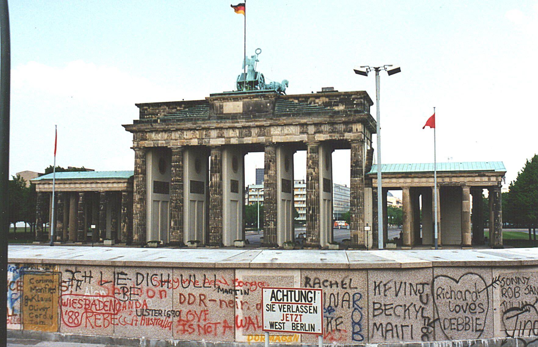 The Wall Brandenburg Gate From The West Berlin Side Berlin Wall West Berlin East Germany