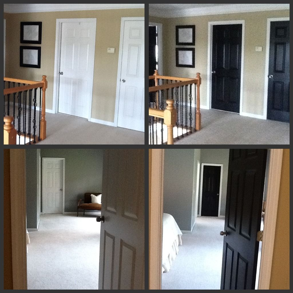 Designers say painting interiors doors black ~ add a richness & warmth to your home despite color scheme. Here your can see the difference. Oooooh I think I like!!