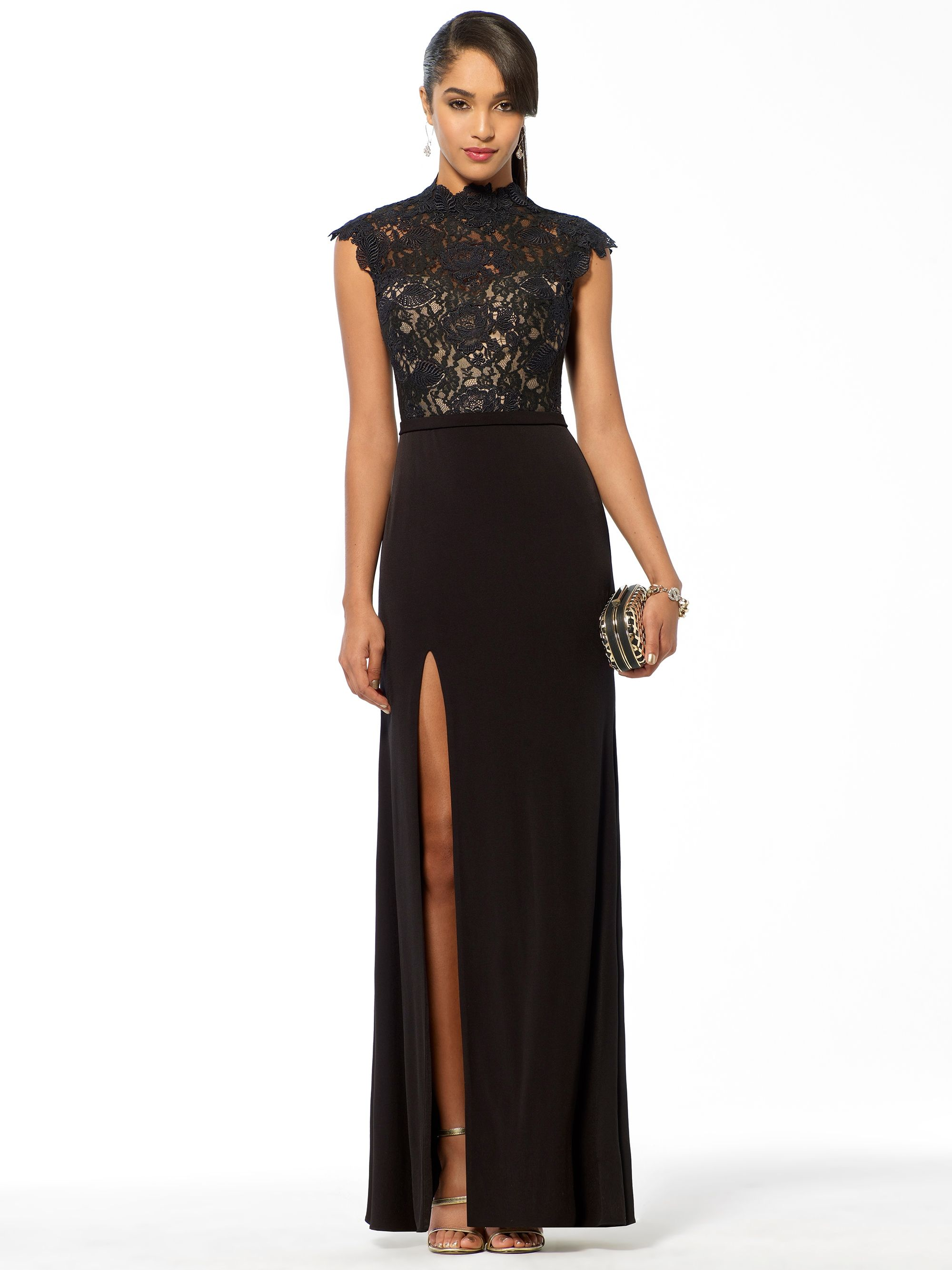 This laced black dress is ideal for any fancy events such as prom or even an all black attire event. The cut on the side adds a more feminine look since the top half covers the chest area fully. I love that about this dress!