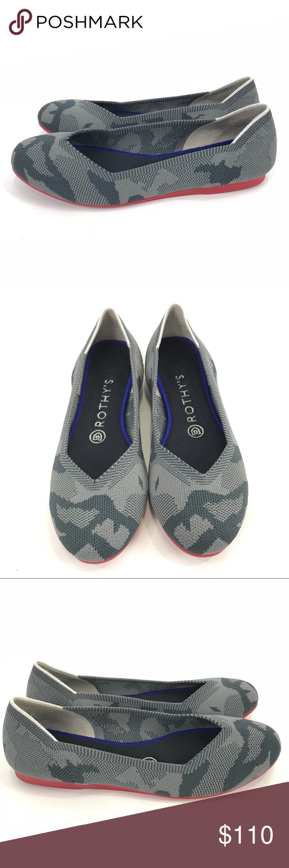89db7acce9e4 Rothy s Grey Camo Flat Red Sole Round Toe Rothy s Grey Camo Flat Size 7 Red  Sole Round Toe Washable Soft Strong Recycled Condition  Pre-owned Gently  Worn ...