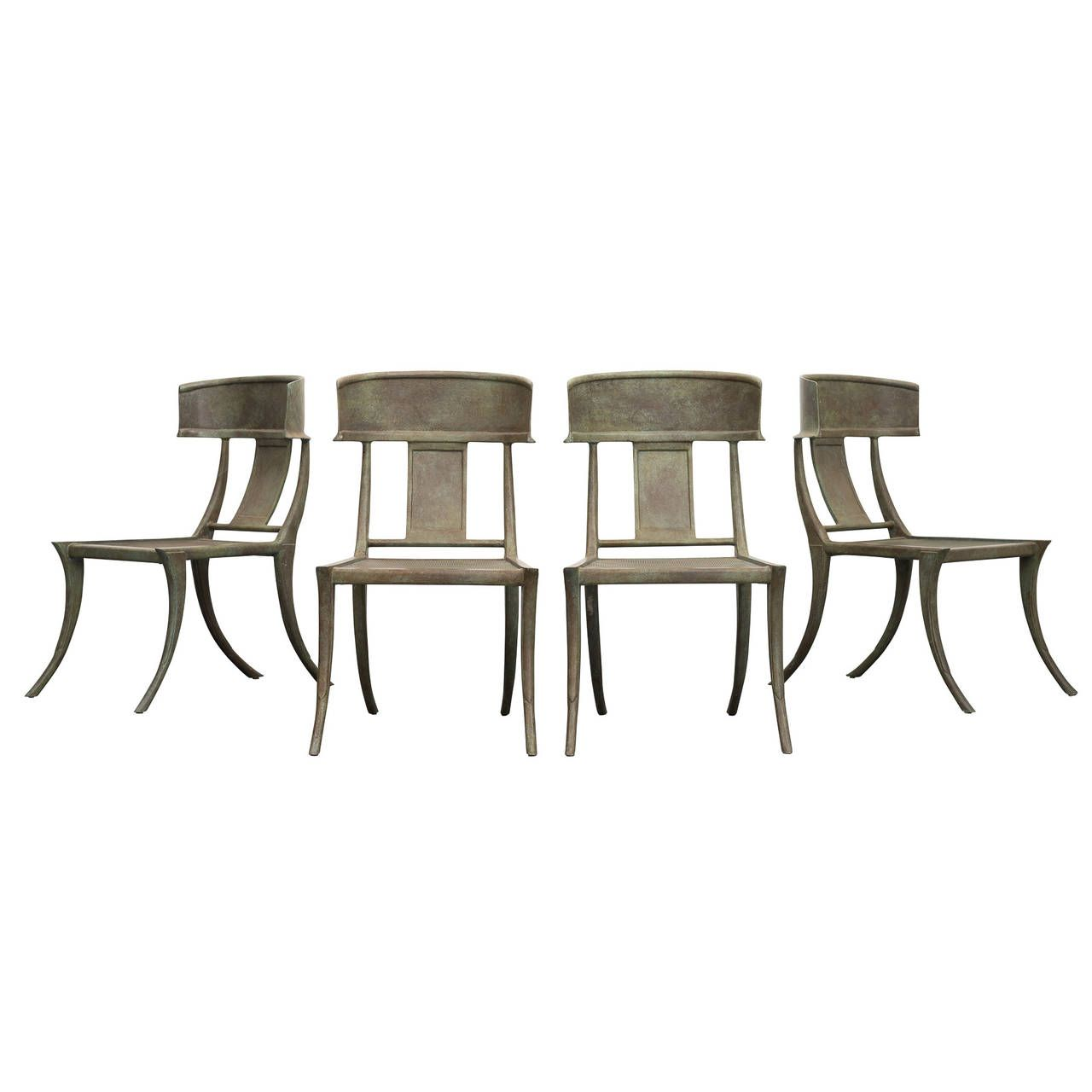 Michael Taylor Set of Four Metal Klismos Chairs  7stdibs.com