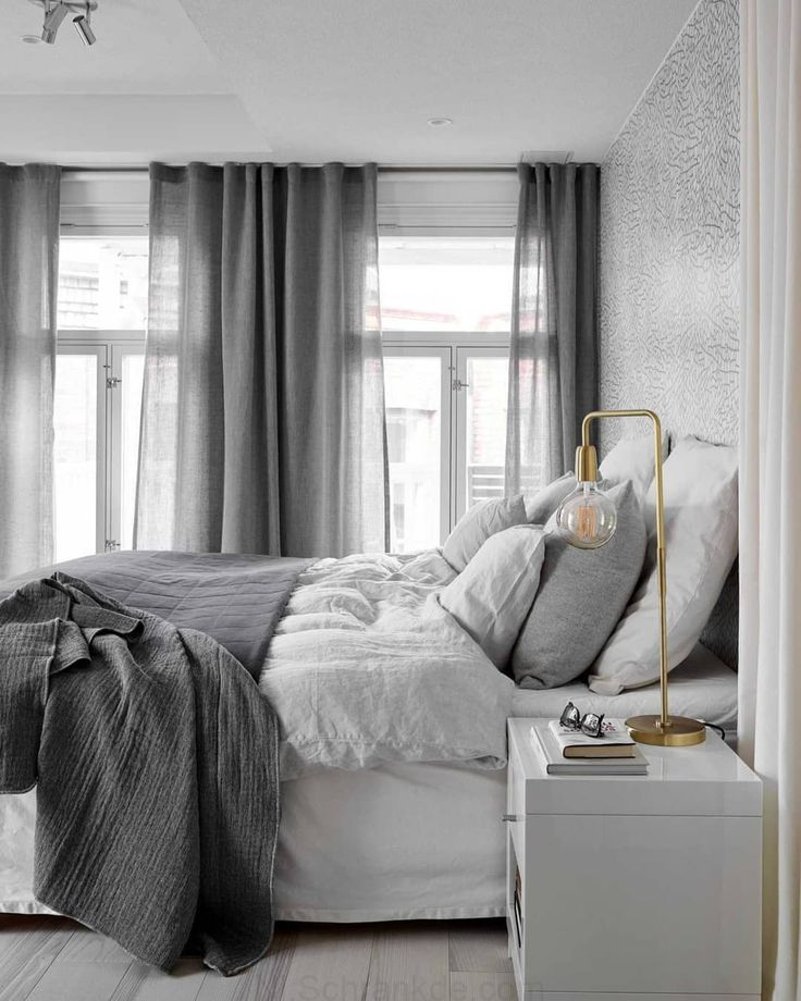 Beautiful Scandinavian Bedroom In A Grey Palette With Soft Textiles And Golden Details Minimalist Bedroom Bedroom Interior Beautiful Bedrooms