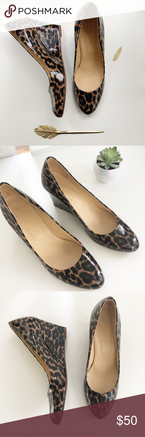 7c482665c3d J Crew Patent Leather Leopard Wedge Excellent Used Condition, No ...
