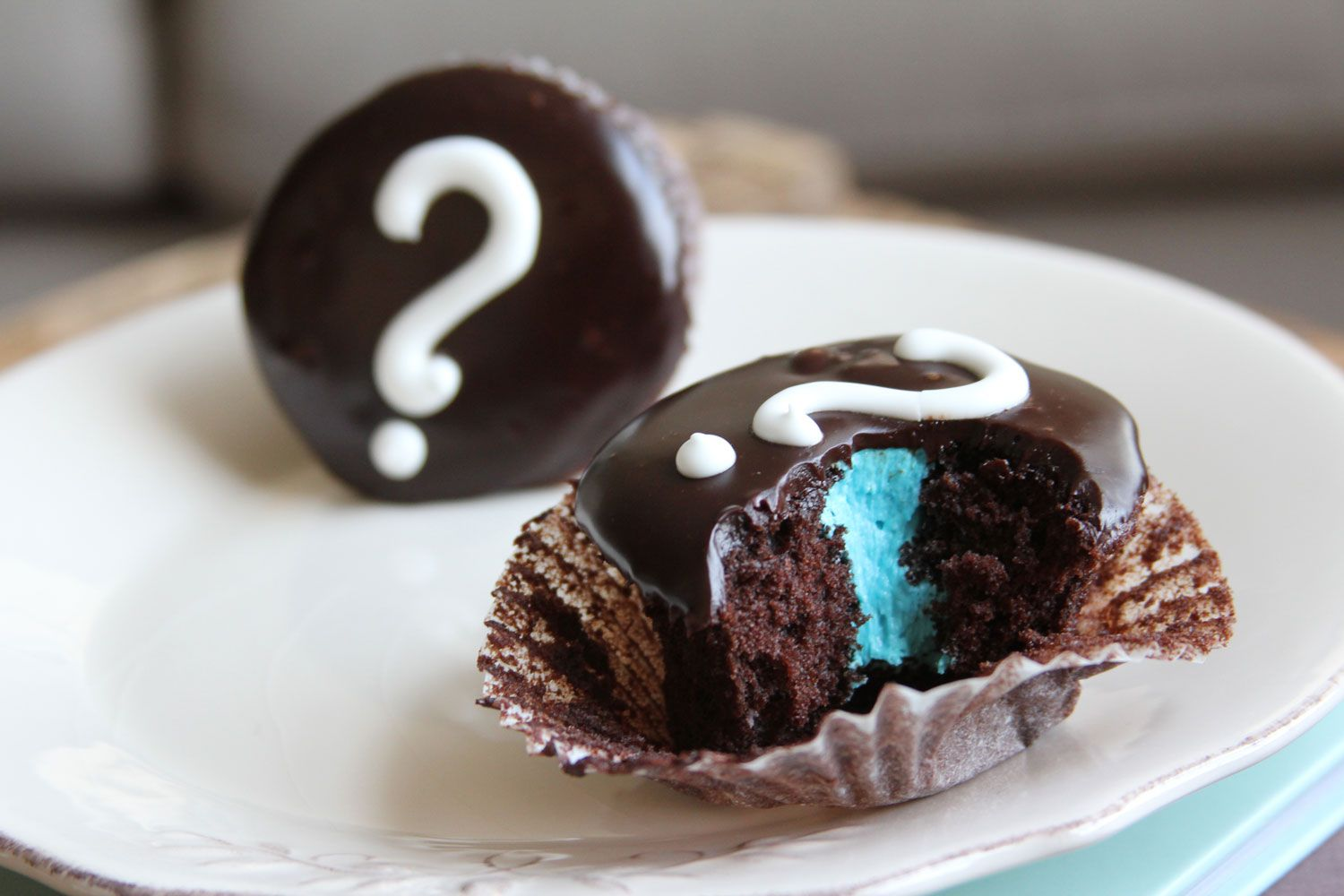 Question mark cupcakes filled with pink and blue.  Gender Surprise Baby Shower.