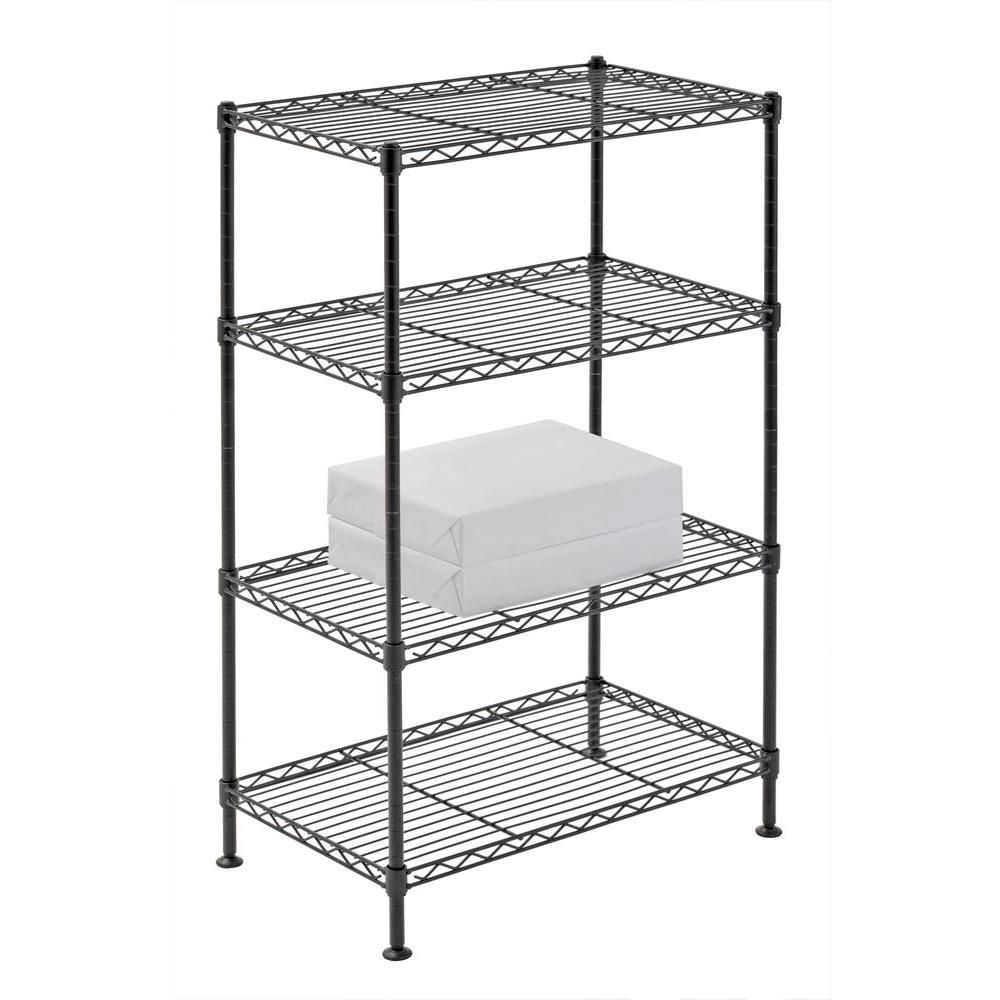 Sandusky 32 In H X 20 In W X 12 In D 4 Shelf Light Duty Wire Shelving Unit In Black Ws201232 B Kitchen Shelving Units Wire Shelving Wire Shelving Units
