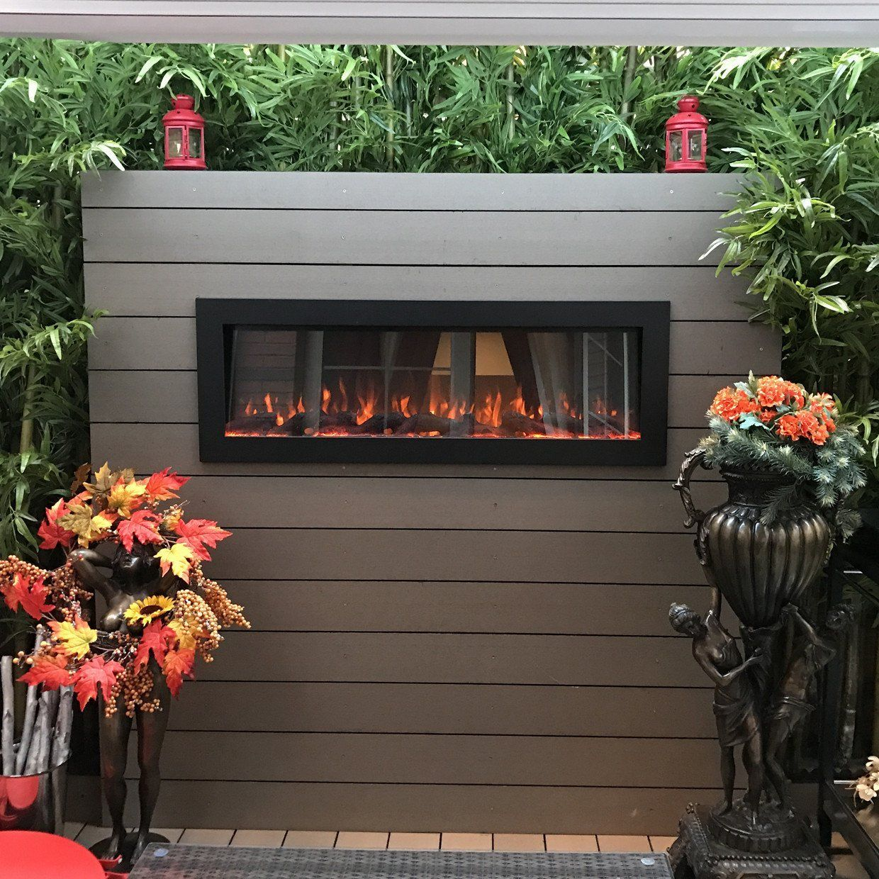 Sideline Outdoor Indoor 80017 50 Recessed Wall Mounted Electric Fireplace No Heat Outdoor Fireplace Designs Wall Mount Electric Fireplace Fireplace Design