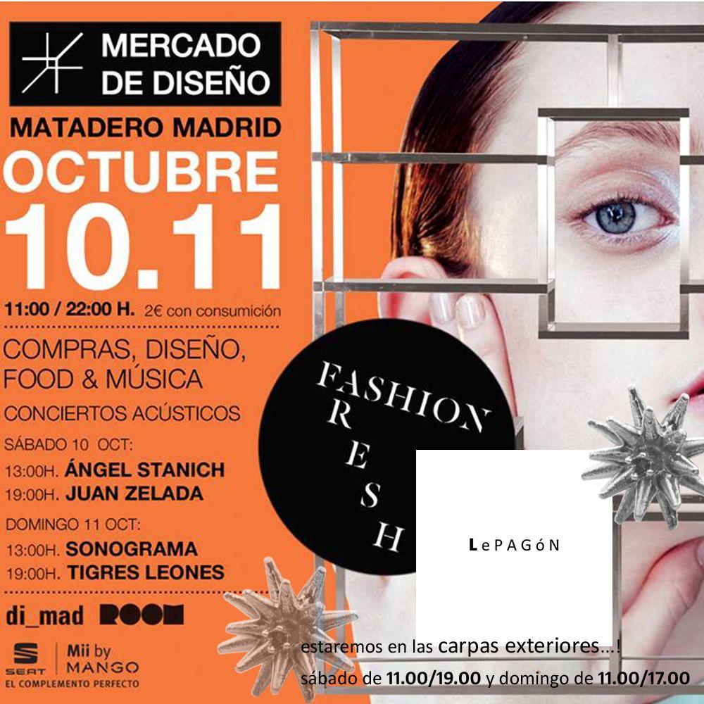 Volvemos a vernos este fin de semana una edición mas de Mercado Central de Diseño!! Esta vez, y atendiendo a vuestras peticiones, estaremos en las carpas exteriores de acceso libre!! . El horario es de 11 a 19 el sábado y de 11 a 17 el domingo! . Como novedad en esta edición tendremos una zona #OUTLET con muchas piezas a precios irresistibles! !! . Os esperamos! ! #LePAGoN #joyas #Madrid #handmade #jewelry #design #mercadocentraldediseño #mataderomadrid #market