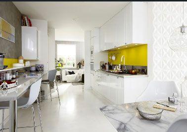 Cuisine Blanche Idées Déco Pour Sinspirer Tout Blanc - Meuble de cuisine jaune pour idees de deco de cuisine