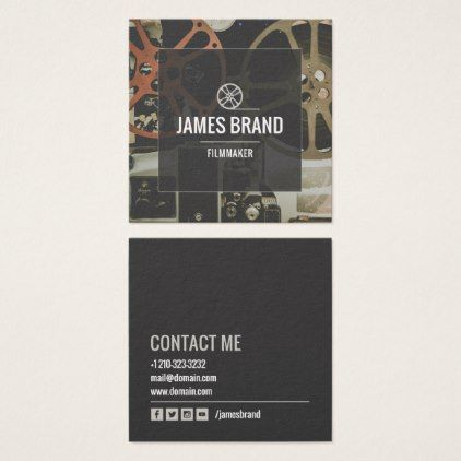 shop movie video filmmaker square business card created by personalize it with photos text or purchase as is - Filmmaker Business Card