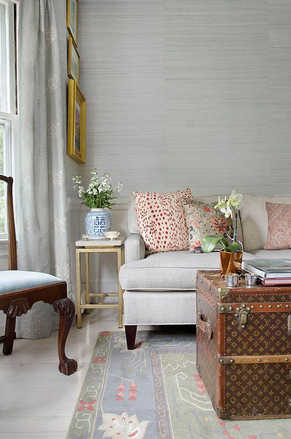 Designer Gallery Grasscloth Wallpaper Natural Wallcoverings Living Room Wallpaper Neutral Transitional Living Room Design Grasscloth Walls #wall #coverings #for #living #room